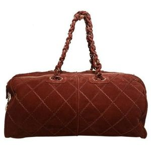 Chanel Maroon Suede Leather Duffel Bag Tote